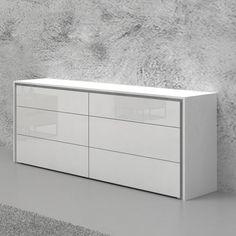 Orren Ellis Austral 6 Drawer Double Dresser Color: W Wood Drawer Pulls, 9 Drawer Dresser, Dresser With Mirror, Low Dresser, Modern Chest Of Drawers, White Drawers, Modern Dresser, Vintage Bedroom Furniture, Home Furniture