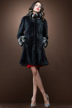 Beautiful mink with chinchilla collar and cuffs. A classic look.
