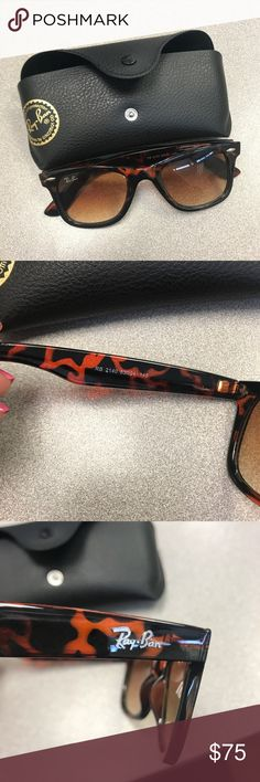 Original Wayfarer Classic Raybans Selling another pair of raybans for a coworker of mine! Barely used glasses. Comes with case and cleaning cloth! Design is tortoise. Ray-Ban Accessories Sunglasses