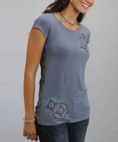 Look at this #zulilyfind! Blue Embroidered Cap-Sleeve Tee - Women & Plus #zulilyfinds
