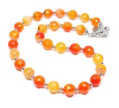 SOLD  Citrus Orange Agate Beaded Gemstone Necklace by BigSkiesJewellery, $50.00 #beadednecklace #orangenecklace #jewelry #handmade #orange #agate