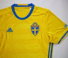 Sweden 2016/2017 home football shirt by Adidas #sweden #euro2020 #swedenteam #svff #adidas #adidasfootball #footballshirt #soccerjersey #jersey #yellow National Football Teams, Adidas, Football Shirts, Sweden, Soccer, Sports, Mens Tops, Yellow, Unitards