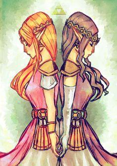 Two Worlds, Princess Zelda and Princess Hilda, The Legend of Zelda: A Link Between Worlds artwork by Dol Duck.
