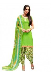 Shonaya Green Colour Creap Printed Unstitched Patiyala Dress Material
