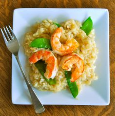 Lemon Risotto w/ Spring Peas & Shrimp Recipe #Pescatarian