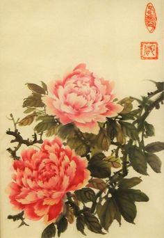 Рисунок - Китайская живопись - Се-И - Пионы. Нажмите на изображение, для того, чтобы посмотреть изображение в максимальном размере