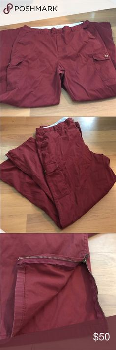 "{L.L. Bean} Cargo pant New condition. Classic fit. Size 20. Brick red with cargo pockets and zipper hems. Straight leg. 19"" waist with a 29"" inseam. L.L. Bean Pants Straight Leg"