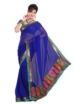 Party Wear Blue & Green Saree  - RKMF319