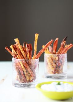 Spicy Baked Sweet Potato Fries with Cool Greek Yogurt Ranch | recipe from Kitchen Treaty