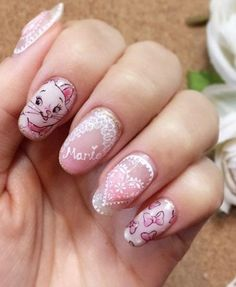 42 Super Cute and Easy Nail Designs The Aristocats Marie nails by Salon de Lumiere Cute Easy Nail Designs, Short Nail Designs, Gel Nail Designs, Disney Acrylic Nails, Disney Nails, Love Nails, Pretty Nails, Orange Nail Designs, Natural Acrylic Nails