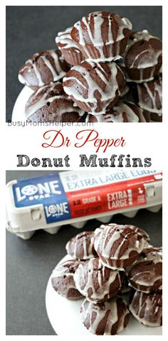 Dr Pepper Donut Muffins / by Busy Mom's Helper Donuts Muffins) Donut Muffins, Biscuit Donuts, Baked Donuts, Doughnuts, Delicious Breakfast Recipes, Delicious Desserts, Snack Recipes, Dessert Recipes, Easy Recipes