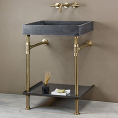 Elemental™ is a collection of brass tube and knurled fittings to support endless combinations of stone, wood, and steel components. The ventus sink comes in both & widths from Antique Gray limestone and carrara marble. Dark Gray Bathroom, Brass Bathroom, Bathroom Basin, Bathroom Fixtures, Bathrooms, Bathroom Stuff, Bathroom Ideas, Wood Drawers, Wood Shelves