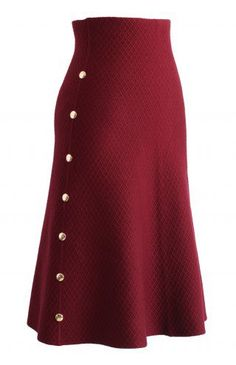 Studs Waffle Knit Midi Skirt in Wine - Retro, Indie and Unique Fashion