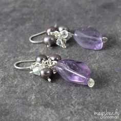 Glamour Purple Amethyst Earrings, Sweet Romantic Jewelry, Elegant, Exclusive, Dangle Cluster Earrings, February Birthstone, Jewellery