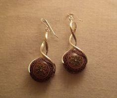 Flower Mood Bead Earrings on Silver Earrings