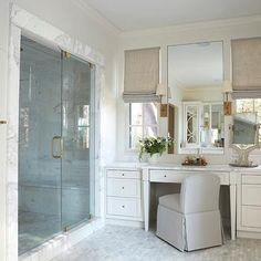 built in make up vanity ideas transitional bathroom libby greene interiors