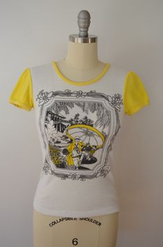 Vintage 1960's Cap Sleeve Ladies T-shirt Victorian print stretchy thinning small or medium by ilovevintagestuff on Etsy