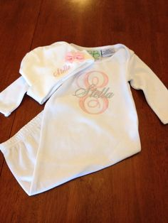 Monogrammed Baby Gown with Hat by SkiptoMyLouMyDear on Etsy