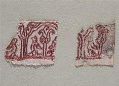 Réunion des Musées Nationaux-Grand Palais - 12th century either Spain or Istanbul.  Silk embroidery on linen fabric.  Cote Cliche' 03-002263 No D'inventaire Cl.21875b;Cl.21875c