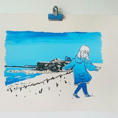 In honour of the charity walk the little blue girl will be completing next weekend (6 miles with mammy and daddy) we've launched this print showing King Edwards Bay, Tynemouth, where the walk finishes