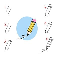 Follow step by step to draw this cute pencil.
