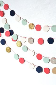 Navy Mint Gold Coral and Cream Confetti by thePathLessTraveled, $10.00