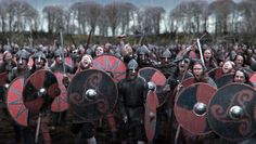 History Channel's VIKINGS - looks like some berserkers in the front chewing on their shields!