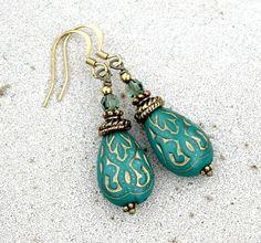 Dark Turquoise Green Drop Earrings - Silk Road, Bohemian, Antique Brass