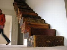 Jan Korbes's Garbage Architecture used the remnants of the antique floor and construction wood from the Schloss Wiesenburg to create this impressive staircase. Designed in the 'shape of… Repurposed Wood, Salvaged Wood, Recycled Wood, Recycled Materials, Reclaimed Timber, Reclaimed Wood Furniture, Recycled Furniture, Rustic Staircase, Timber Staircase
