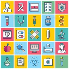 Buy Healthcare Illustration Icon Set by denkcreative on GraphicRiver. Ucla Health, Best Icons, Vector Graphics, Icon Set, Icon Design, Design Art, Health Care, Color Palettes, Infographics