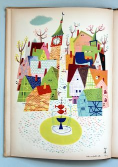Vintage Illustration My Vintage Avenue ! and illustrations !: Den Store Quillow illustrated by Olle Eksell, 1949 ! Art And Illustration, Vintage Illustrations, Vintage Cartoon, Up Book, Book Art, Olle Eksell, City Poster, You Draw, Vintage Children's Books