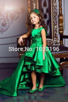 Emerald Green Girls Pageant Dresses High Low Princess Flower Girls Dresses For Weddings Lovely Kids 2017 Communion Dresses