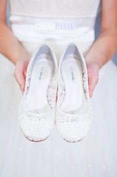 These would be good to wear on your wedding night so your feet don't get sore or sticky! White Flats Wedding, White Lace Flats, Fall Wedding Shoes, Flat Wedding Shoes Brides, Lace Weddings, Our Wedding Day, Wedding Night, Wedding Bride, Trendy Wedding