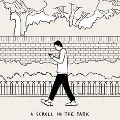 Lovely day for a scroll in the park --- I like this style of illustration.