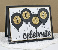 New Year card with balloons and sparkles ~ by Barbara Anders New Year Cards Handmade, Graduation Cards Handmade, Happy New Year Cards, New Year Greeting Cards, Greeting Cards Handmade, Graduation Hats, Graduation Balloons, Graduation Celebration, Graduation Invitations