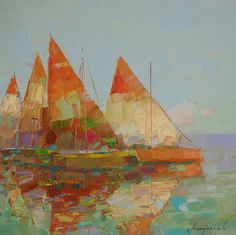 """Sail Boats, Original oil Painting, Seascape, Handmade artwork by palette knife, One of a kind,. Artist: Vahe Yeremyan Work: Original oil Painting, One of a Kind Medium: Oil on Canvas Year: 2016 Style: Impressionism Subject: Sail Boats, Size: 14"""" x14"""" x 3/4'' inch Gallery Estimated Value $1,100 Unframed, Stretched on wooden bar, Gallery Wrapped Yeremyan is an Armenian native who now makes his home in California. He is an honorable member of the Artist's Guild of Armenia and an active…"""
