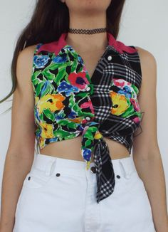 Vintage Tie Front Printed Cropped Button Down Button Down Collar, Button Downs, Collars, Floral Prints, Super Cute, Plaid, Tie, Crop Tops, Printed