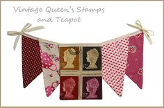 Stamp Bunting Fabric Bunting, Shop Windows, Vintage Country, Union Jack, Tea Party, Shabby, Gift Wrapping, Stamp, Chic