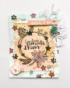 Une carte de scrapbooking, réalisé avec des tampons et de l'aquarelle pour les jolies créations.inspiration hivernale.