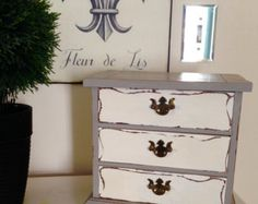 Vintage Jewerly Box Hand Painted Annie Sloan French Linen and Old White