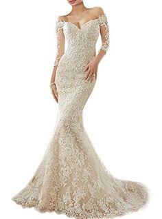 RightBride Womens Ivory Wedding Dresses Off Shoulder Mermaid Sweetheart Vintage Dress Lace Wedding Dress for Bride 2017 Size 4 ** For more information, visit image link.