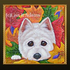 Fall Westie Painting Original Art Colorful Leaves Stretched Canvas Creationarts #westie #westiepainting #fallwestie