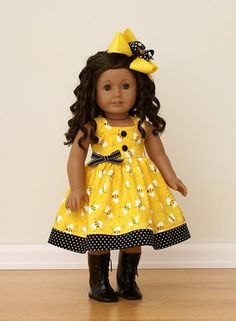 American Girl Doll ClothesBEE HAPPY Dress and by addijaneclothing
