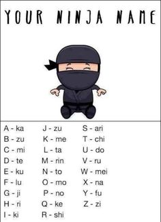 What's your ninja name? 12 Sources of Ninja Day Inspiration (Rinmo Tatafu . dumbest Ninja name ever! Funny Quotes, Funny Memes, Hilarious, Jokes, Ninja Name, Ninja Birthday, Ninja Party, What Is Your Name, Nerdy