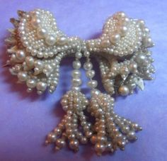 LOVELY GEORGIAN SEED PEARL BROOCH WITH TASSELS PART OF SMALL COLLECTION