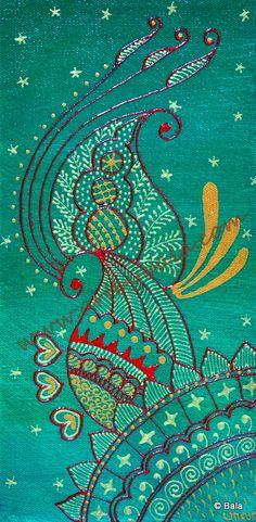 Henna abstract. Textured henna style acrylics painting on canvas. © Bala Thiagarajan. www.artbybala.com