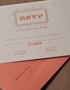 Patisserie letterpress wedding invitation, lace reply card, coral and gray, modern wedding, Elum, mango, urban wedding, affordable letterpress invitation
