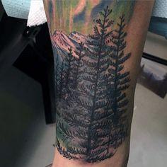 Men's Color Pine Tree Tattoo