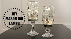 Use glass candle holders to elevate a simple mason jar with lights into a sophisticated DIY mason jar lamp centerpiece!
