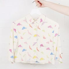 Dinosaur Crop Shirt Multicolour http://www.thewhitepepper.com/collections/spring-15/products/dinosaur-crop-shirt-multi-colour